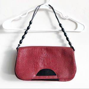 Carla Mancini Embossed Leather Shoulder Bag